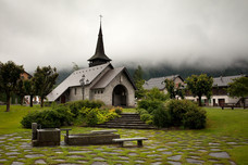 Les Praz Rainy Church Chamonix France 10852