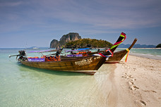 Tup Island Long-tail Boats Andaman Sea Islands Thailand 8911