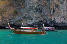 Chicken Island Long-tail Boats Andaman Sea Islands Thailand 8919