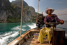 Phi-Phi Don Long-tail BoatMan Phi-Phi Islands Thailand 8980