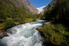 The Briksdal Glacier Trail Glacier Melting Waters Jostedalsbreen National Park Norway 9100