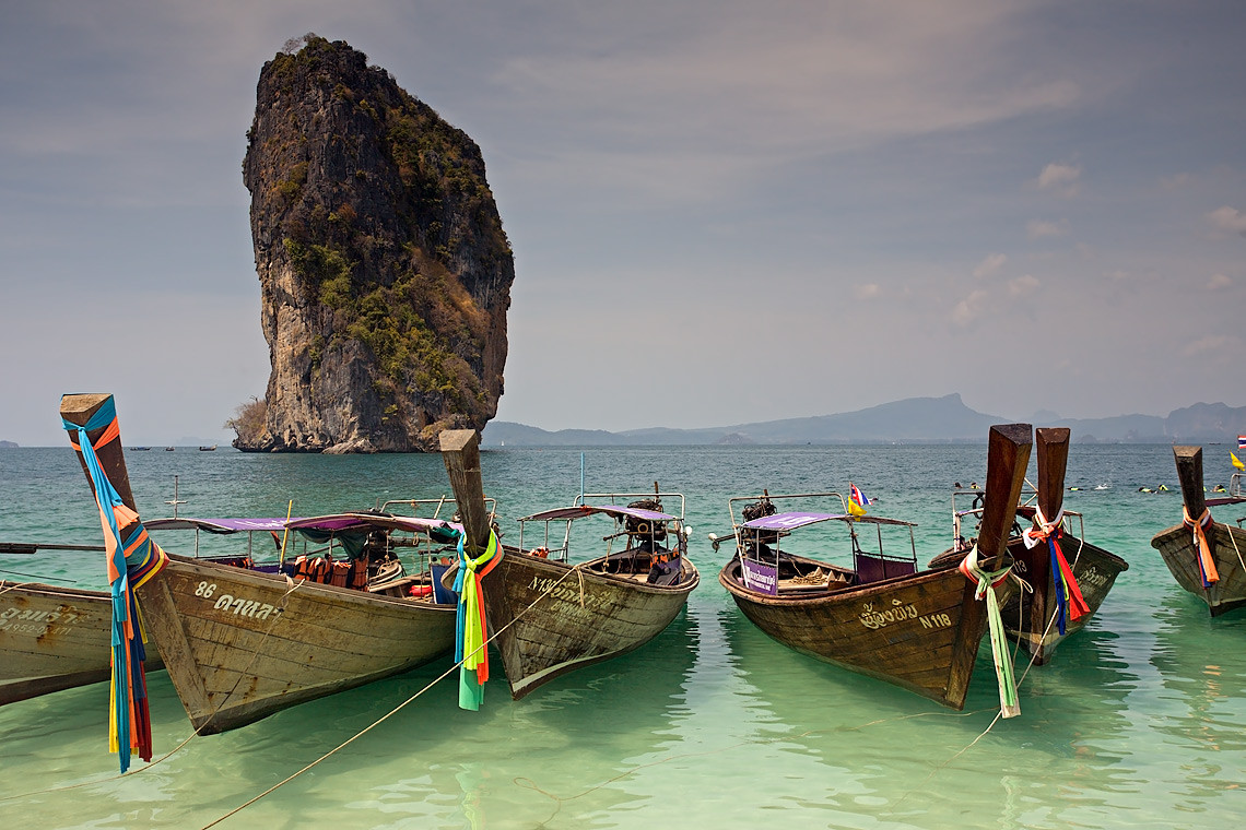 Poda Island Long-tail Boats Andaman Sea Islands Thailand 8924
